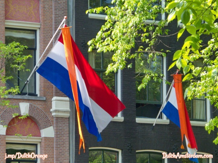 Orange banner with Netherlands flag