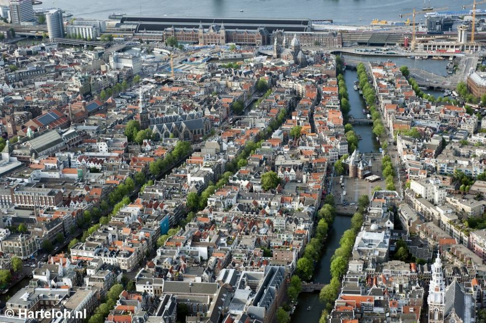 Aerial view of downtown Amsterdam