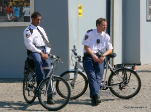 Amsterdam police officers keeping a watchful eye