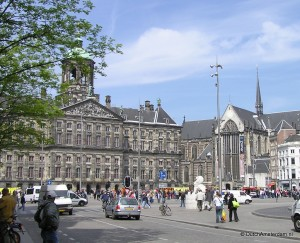 Royal Palace and New Church at Amsterdam Dam Square