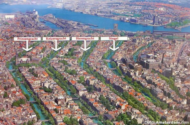"Amsterdam has a ""belt of canals"" around its historic city center"