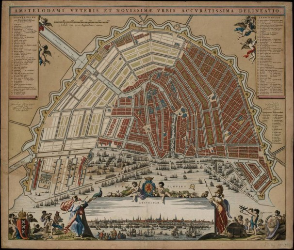Map of Amsterdam, drawn by city architect Daniel Stalpaert and printed in 1662