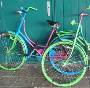 Colorful bikes in Amsterdam