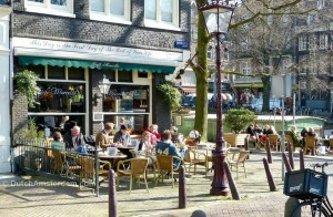 On the one spring-like day we had in March, customers enjoy the terraces of Café Marcella
