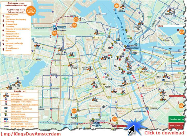 Amsterdam Kings Day 2017 All Day Citywide Street Party – Tourist Attractions Map In Amsterdam