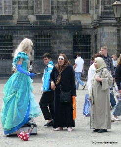 Living statue at Dam square, Amsterdam