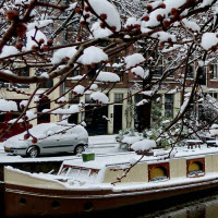 Snow-covered Amsterdam