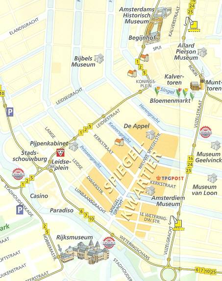 Map to Spiegelkwartier Amsterdam art and antiques