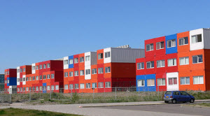 Converted shipping containers housing students