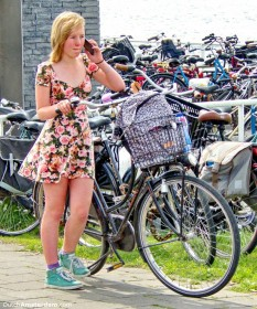 Amsterdam: girl, bike, summer dress