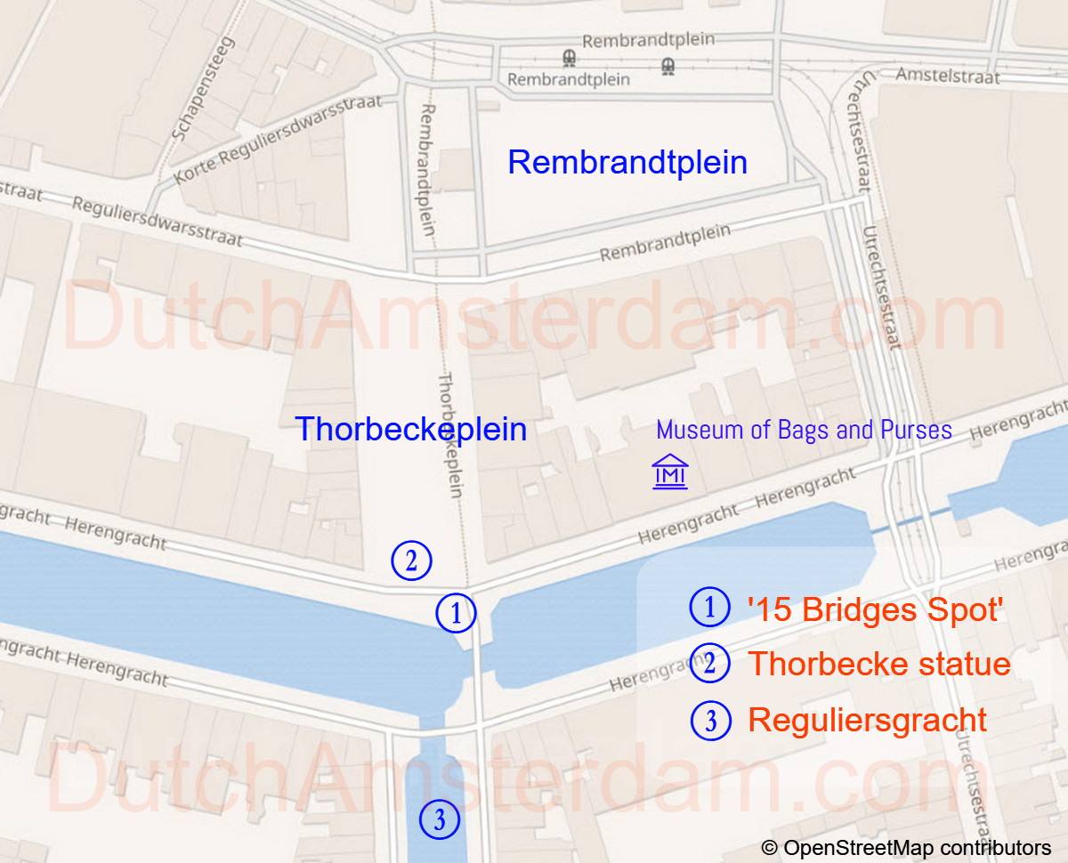 Amsterdam map to 15 bridges viewpoint
