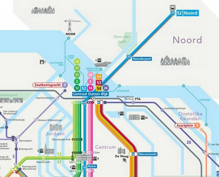 Amsterdam Tram, Metro, Train map
