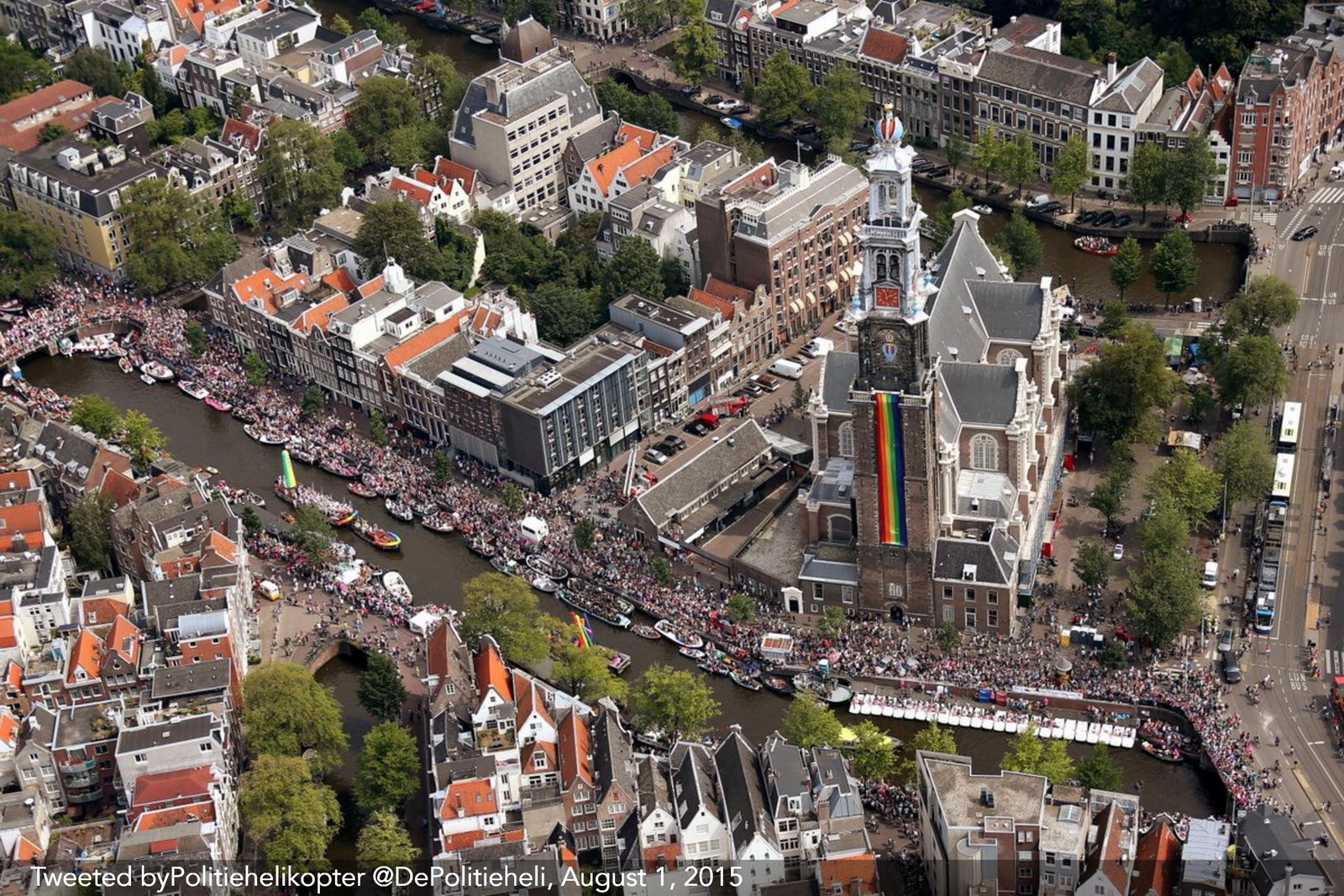Aerial view of gay pride canal parade