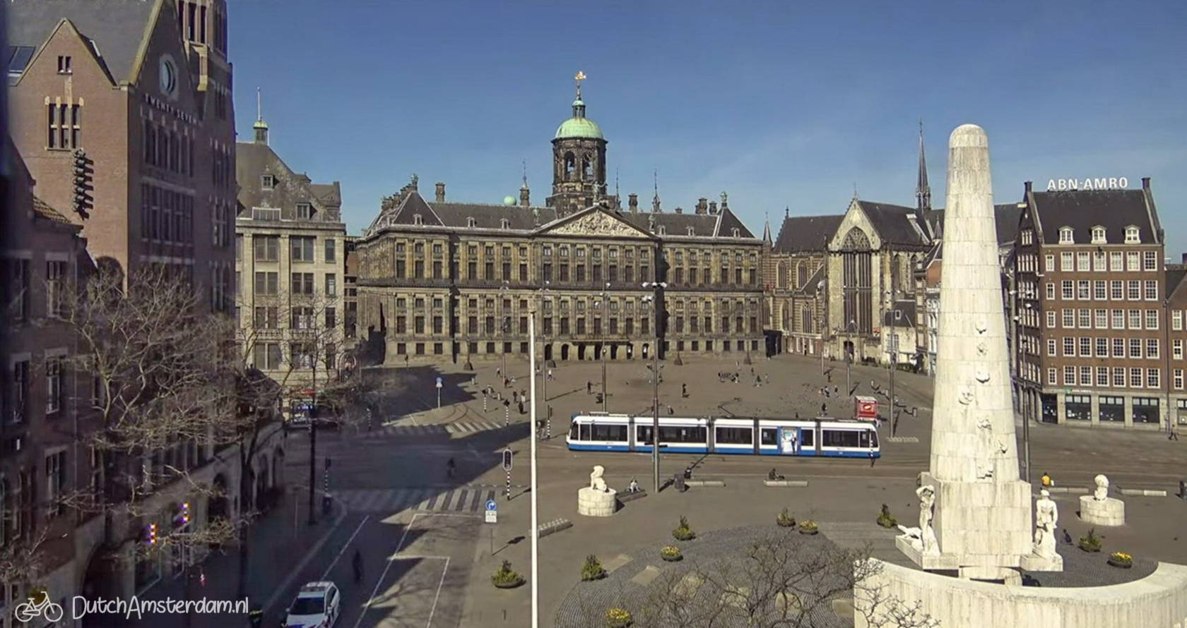 Dam square, normally one of Amsterdam's busiest squares, seen during the Coronavirus lockdown