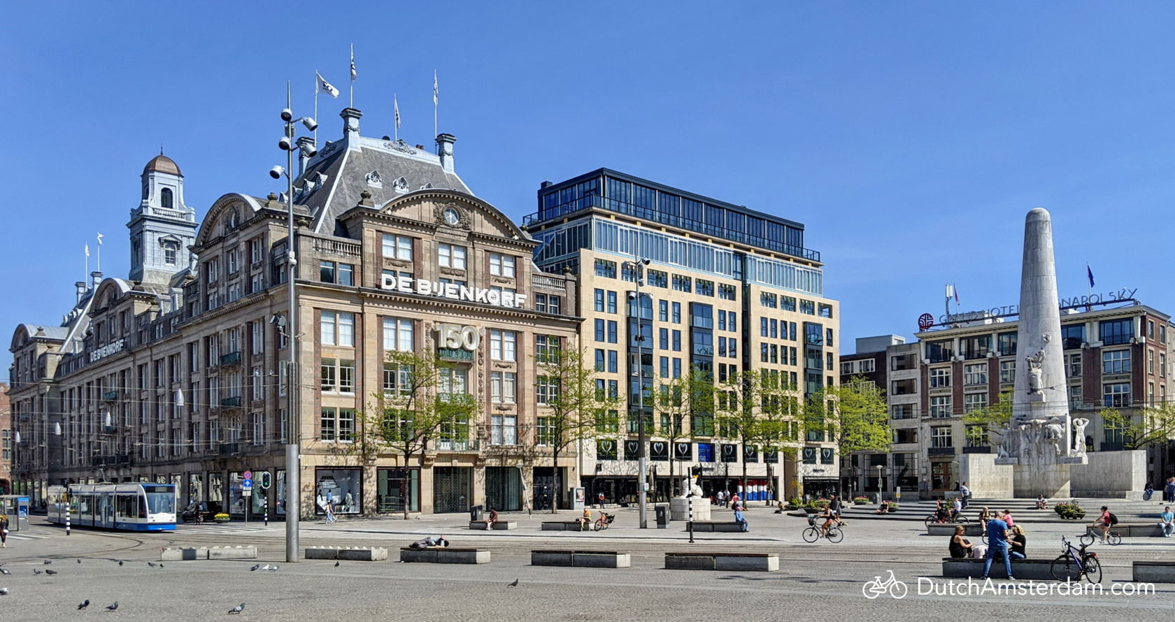 Amsterdam's famous Dam Square without the usual crowds