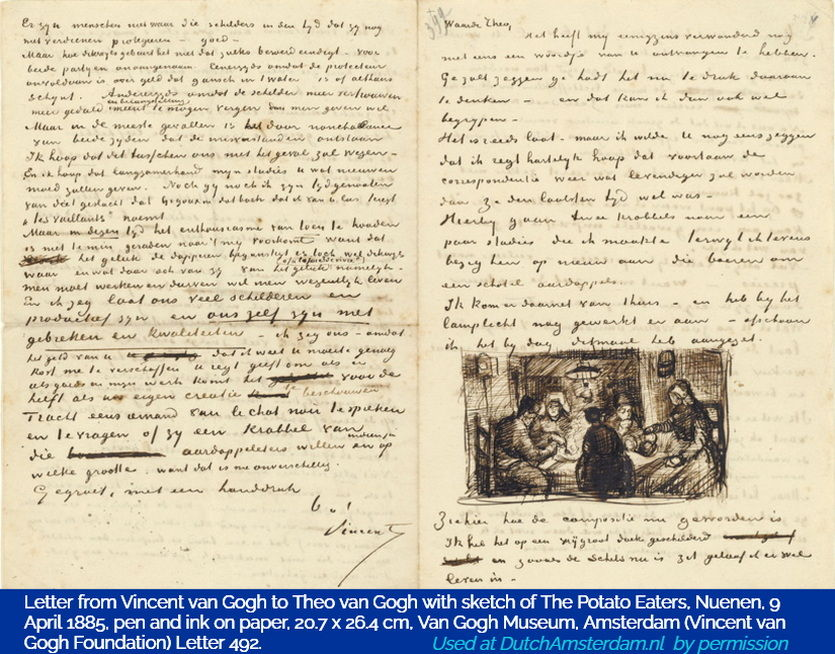A letter by Vincent van Gogh to his brother Theo. Includes a sketch of his painting The Potato Eaters