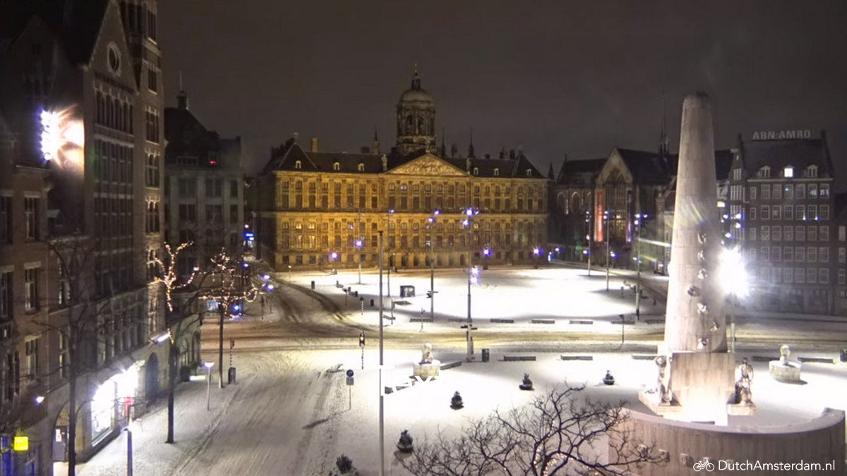 Snow covered Dam square in Amsterdam