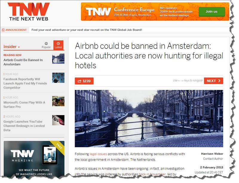 Screenshot of news item about Airbnb, erroneously reporting the service could be banned in Amsterdam