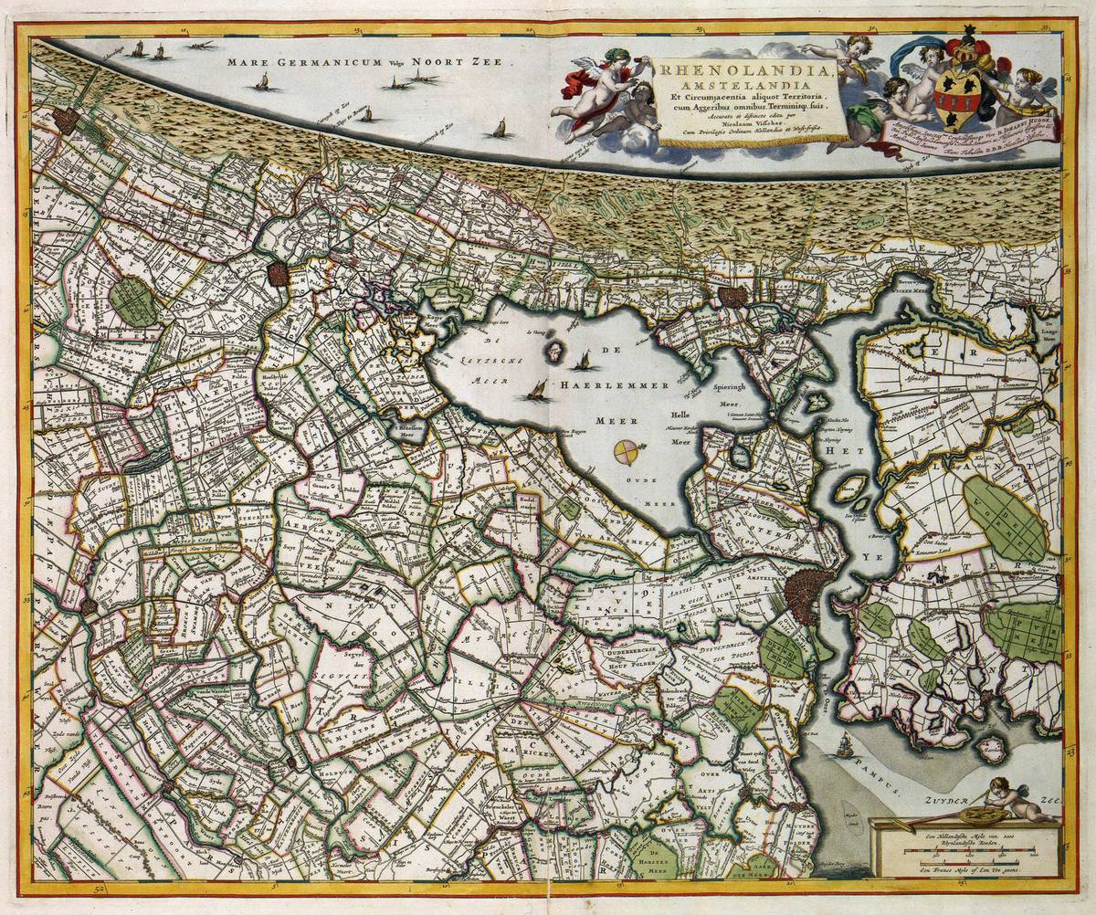 Old map of Amsterdam and surroundings