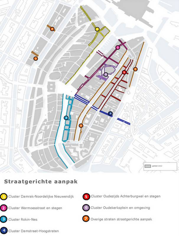 This map from a Project 1012 publication shows the downtown Amsterdam area (part of Central Station at the top).  The 18 streets are all within the clusters indicated.
