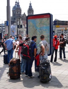 Tourists at Amsterdam Central Station
