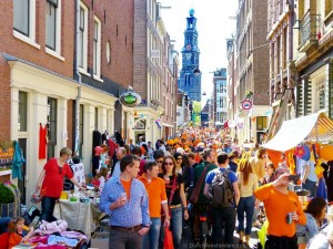 Queen's Day crowd in Amsterdam